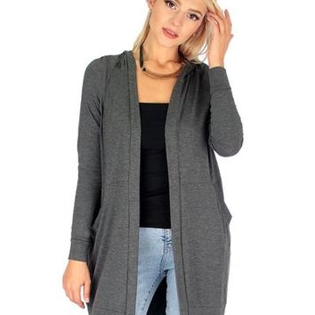 CHARCOAL- LONG-LINE HOODED CARDIGAN WITH POCKETS RC1124