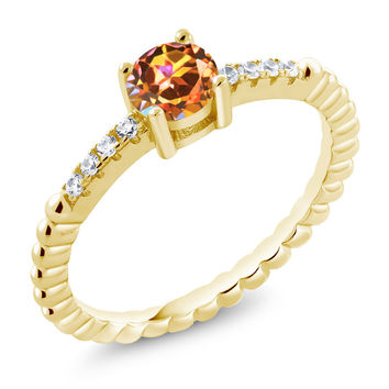 Mystic Topaz White Swarovski Zirconia 18K Yellow Gold Plated Silver Ring