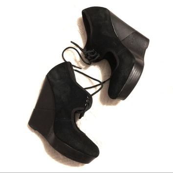 """Deena & Ozzy"" black suede wedges"