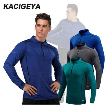 Running Long Shirts Men Quick Dry Workout Compression Sports Gym Exercises Outdoor Mountaineer Training Shirts Hot Man