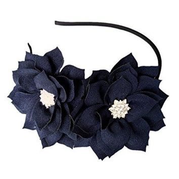 Coolwife Fascinator Headband Hair Clip Lotus Flower Bridal Headpieces Wedding Party Headwear