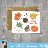HAPPY THANKSGIVING, Autumn Leaves, Fall Season, Greeting Card 5 x 6.5, Note Card, 5 x 7 Kraft Envelope, Unique, Caricature, Red and Orange