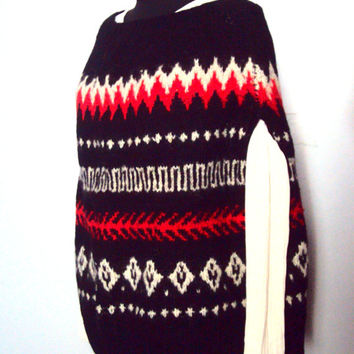 Knit Wool Poncho Icelandic Jacquard Design Big Cape Sweater Scandinavian Fair Isle Traditional Knitting Men Women Clothing FREE SHIPMENT