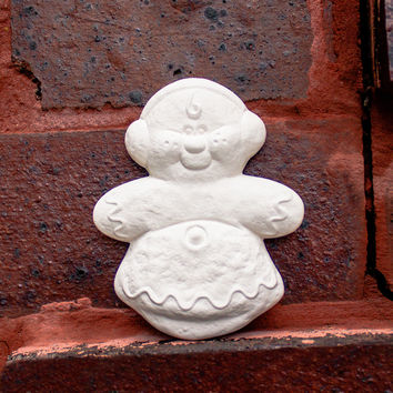 "Cute Gingerbread Boy Christmas Ornament 3.1"" Ready to Paint Pottery Ceramic Bisque"