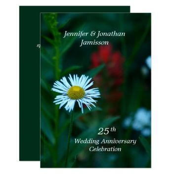 25th Wedding Anniversary Party Invite White Flower