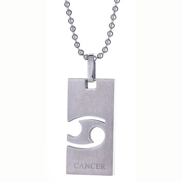 Metro Jewelry Stainless Steel Cancer Horoscope Pendant Necklace