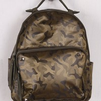Textured Camouflage Studded Backpack