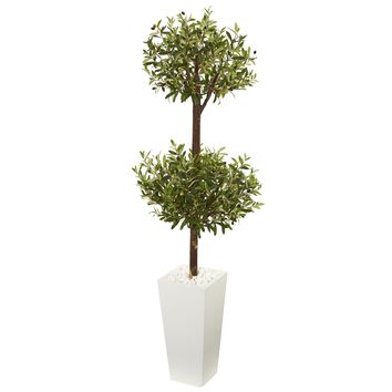 Artificial Tree -5.5 Foot Olive Double Topiary Tree with White Tower Planter