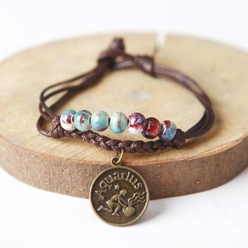 Ceramic Beaded Zodiac Charm Bracelet All Astrological Signs