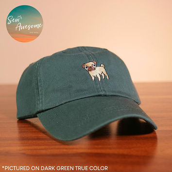 Pug Dad Hat, Dog Baseball Cap, Pet Custom Embroidery, Best Friend Gift, Personalized, Embroidered Hat