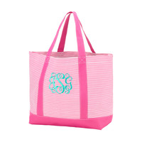 Hot Pink Pinstripe Canvas Bag