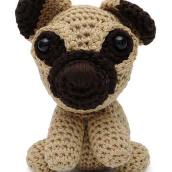 Cream-dark brown Dog Handmade Amigurumi Stuffed Toy Knit Crochet Doll VAC