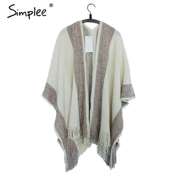 ♡ Striped Tassel Poncho Sweaters Warm Cape Oversized Shawl Wrap ♡