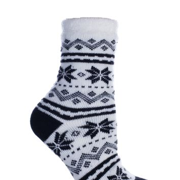 """Women's Double Layer Non-Skid Soft & Fuzzy Shea Butter Infused Slipper Socks, """"Snowflakes"""""""