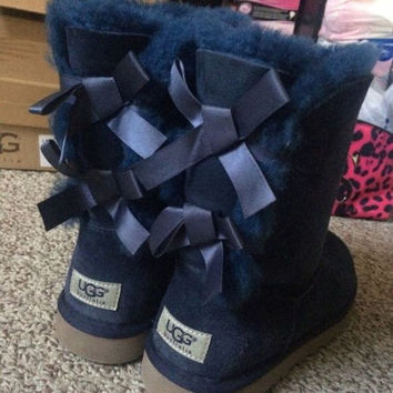 """UGG"" Women male Fashion Wool Snow Boots Navy blue"