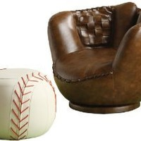 Crown Mark Baseball Glove Chair/Ottoman
