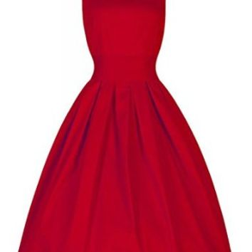 PAKULA Women's 50s Hepburn Style Vintage Retro Solid Party Dress