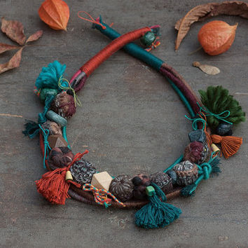 Statement ethnic necklace, Mixed media jewelry in brown teal and orange, Long tassel necklace, OOAK