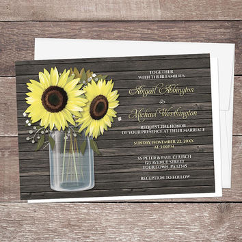 Rustic Sunflower Mason Jar Wedding Invitations and RSVP - Country Yellow Floral Brown Wood - Printed Sunflower Invitations