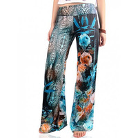 Stylish Women's Flowers Print Wide-Leg Exumas Pants