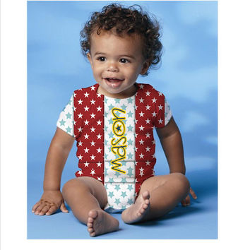 Personalized Stars design infant one piece bodysuit short sleeves- Onesuit-custom snapsuit perfect to wear on 4th of July