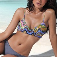 Chloe Wrap Top  Monique Bottom - Tesserae/Grey - L*Space - Swimwear