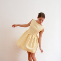 Women's yellow summer dress - classic sleeveless mini dress - boat neckline party dress -made to order