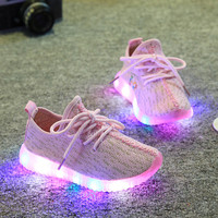2016 spring new children coconut of shoes mesh breathable soft-soled running lighting shoes with LED boys girls fashion sneakers