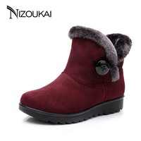 2018 Winter boots Women ankle Boots For Women winter shoes Casual Fashion Black Red Brown Warm Woman Snow Boots plus size