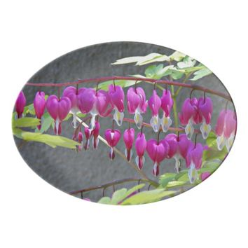 Pink Bleeding Hearts Floral Porcelain Serving Platter