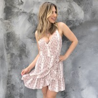 One Sided Pink Snakeskin Wrap Dress