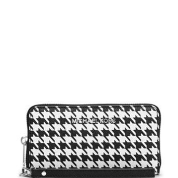 Michael Michael Kors Large Houndstooth Jet Set Travel Phone Wallet