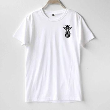 DCCKJ1A Fashion letters pineapple blouse hippie punk womens t-shirt