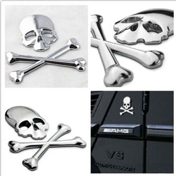 3D Skull Metal Car Sticker Auto Motor Skeleton Crossbones Emblem Badge Label = 1929666628