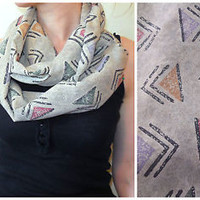 Tribal Infinity Scarf Arrow Aztec Print Native American Navajo Triangle Tan Gray