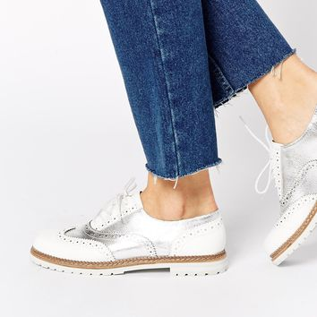 ALDO Mearian Silver Flat Brogue Shoes