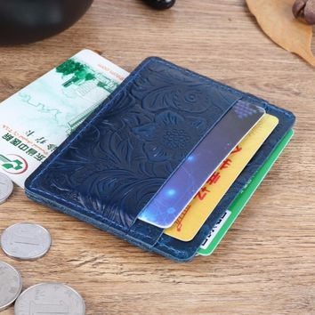 New Arrivals Credit ID Card Holder Slim Wallet Purse Flower Embossed Leather Customized Business Men Women Wallet