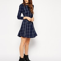 ASOS Denim Swing Dress in Check Print at asos.com