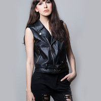 women leather vest, women vest, black vest, motorcycle vest, motorcycle leather vest,