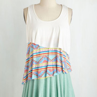Colorblocking Mid-length Sleeveless Smiling Tier to Tier Top in Festive by ModCloth