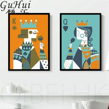 Creative Cartoon Playing Cards King And Queen Canvas Decorative Painting Personality Living Room Coffee Shop Art Poster Picture