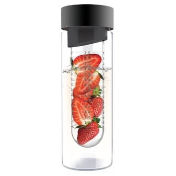 Asobu Flavor It 20 Ounce Glass Water Bottle With Fruit Infuser, Smoke