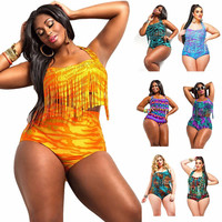 Feipo Sexy Color Fat Tassel Plus Size Swimwear One Piece Swimsuit Bathing Suits Womens Sexy Plus Size Bathing Suits