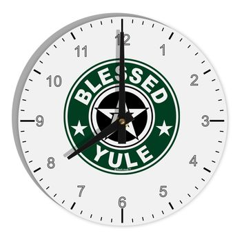 "Blessed Yule Emblem 8"" Round Wall Clock with Numbers by TooLoud"
