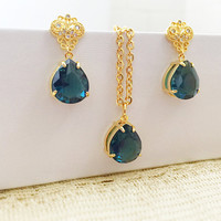 Sapphire Jewelry - Elegant Jewelry - Sapphire Pear Shaped - Gold Stainless - Classy Jewelry - Prom Necklace - Wedding Jewelry