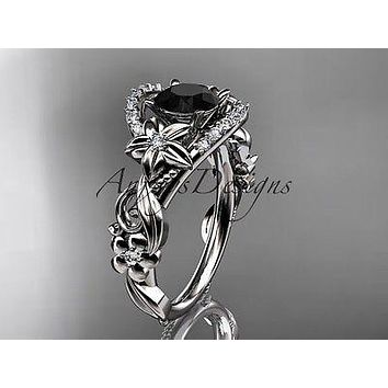 platinum flower diamond unique engagement ring  Black Diamond ADLR211P