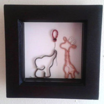 Elephant And Giraffe Shadowbox Frame, Art Shadow Frame Decoration, Handmade Wire Wrapped Fox Wall Art, Unique Nursery Decoration, Cute Art