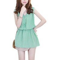 Allegra K Women Button Decor Upper Dots Pattern Tank Dress Mint Green XS