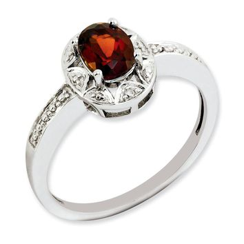 Sterling Silver Diamond & Garnet January Birthstone Ring