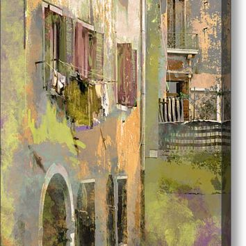 Venice Washday In Earth Tones Canvas Print / Canvas Art By Suzanne Powers